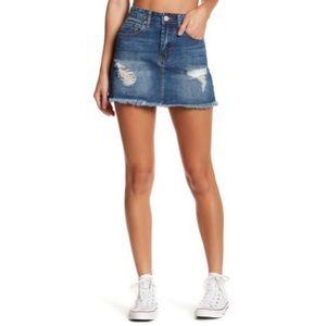 Ashley Mason | Distressed Denim Mini Skirt